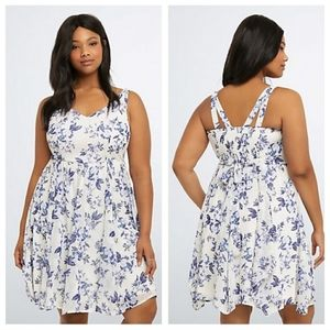 Torrid Floral Blue and White Dress